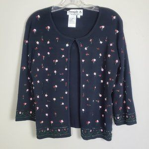 Joseph A. Black Floral Sequins Beads knitting Top